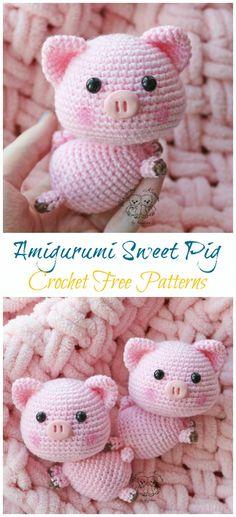 Amigurumi Little Sweet Pig Crochet Free Patterns- Free Toy So. Amigurumi Little Sweet Pig Crochet Free Patterns- Free Toy So. Bonnet Crochet, Crochet Pig, Crochet Animals, Crochet Dolls, Free Crochet, Crochet Hats, Crochet Beanie, Kids Crochet, Knit Hats
