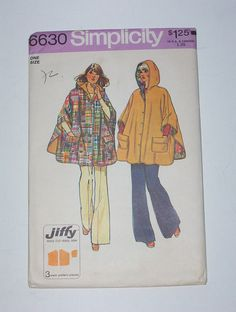 Vintage 70s Jiffy Reversible Hooded Poncho Pattern by lisaanne1960, $8.00
