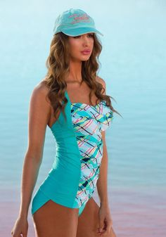 Make a stylish splash in our favorite new design with a twisted bust accent, ruched center printed front and blocked side panels that slim the tummy and entire silhouette. Foam-lined, molded cups prov Swimwear Guide, Modest Swimsuits, Cute Swimsuits, Sexy Lingerie, Daily Bikini, Summer Outfits, Cute Outfits, Swimsuit Cover Ups, Shabby Chic
