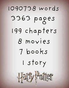 1090738 palavras 3363 páginas 199 capítulos 8 filmes 7 livros 1 história Harry Potter :D