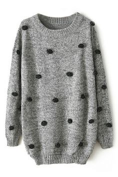 ROMWE   ROMWE Fluffy Ball Embellished Loose Grey Jumper, The Latest Street Fashion
