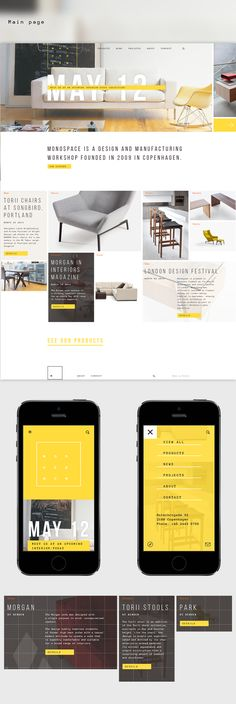 Yellow and white are an awesome color for a website. My next one has to have simple color swapping. Transparent images for sure. Monospace identity & website by Andrey Belikov, via Behance