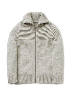 100% Cotton knitted zip up cardi. Features funnell neck and rib detailing.