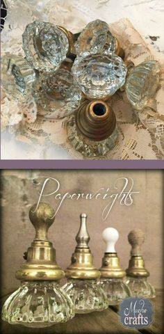 This is a wonderful use for old and beautiful doorknobs ~ with a few additions they become stunning paperweights
