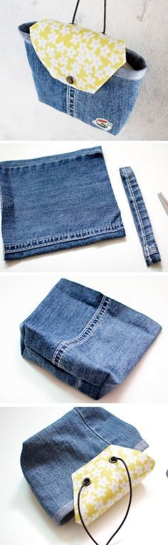 La parte superiore non mi piace ma così si riciclano anche le gambe dei jeans.   How to make handbag from old jeans. DIY Tutorial in Pictures.    http://www.handmadiya.com/2015/10/denim-bag-tutorial.html
