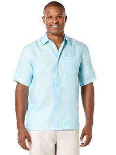 100% Linen Short Sleeve 1 Pocket Cross Dye
