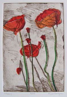 Red #Poppies by Kim Solga softground #etching with chine colle in red orange green. $ 195.00, via Etsy.