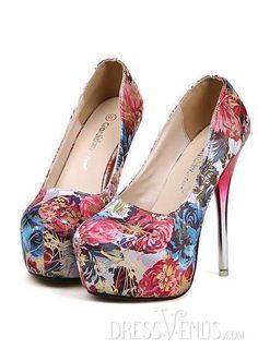 Dress Venus ✿ Rose Platform Metal Transparent Pump Shoes.