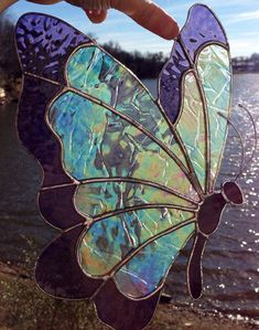Made to Order Sweveneers Iridescent Clear & Violet Butterfly Stained Glass Sun Catcher #StainedGlassButterfly