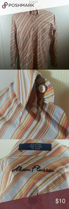 Alan Flusser Multi-Colored Striped Shirt Size L Multi-colored (brown/blue/pink/orange/white) pointed collar with hidden button down style. 100% cotton.  Size L. Small pin hole on back (see photo). Shirts Casual Button Down Shirts