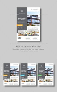 Buy Modern Real Estate Flyer by MoccapStudio on GraphicRiver. Real Estate Flyer Features : 3 Color Version Layered Organised PSD Text Editatble Color Editatble CMYK 300 DPI Size A. Poster Sport, Poster Cars, Poster Retro, Flyer Layout, Brochure Layout, Brochure Design, Brochure Template, Free Brochure, Real Estate Ads