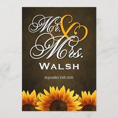 Mr & Mrs Brown Sunflower Wedding Invitations Western Wedding Invitations, Wedding Invitation Size, Sunflower Wedding Invitations, Farm Wedding, Rustic Wedding, Gender, Brown, Age