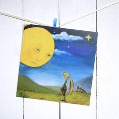 Postkarte - Hase und Mond