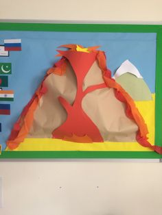 Volcano display for Geography topic: What makes the earth angry? Ks2: Year 3