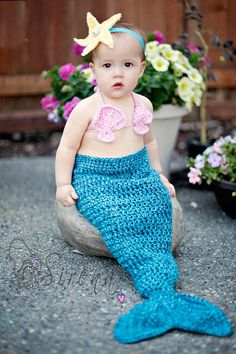 Crochet Mermaid tail with Sea Shell top and by TheKnottyCorner
