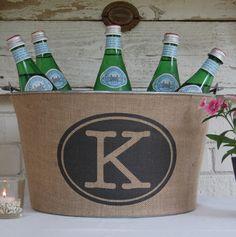 Monogram Burlap Bucket for Weddings, Shower Events...a must for entertaining. Rustic Elegant Wine or Drink Tub.. $89.00, via Etsy.