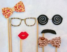 Stylish on a Stick Photo Prop Set of 6. Perfect for photo booth pictures, new years and parties.. $17.75, via Etsy.