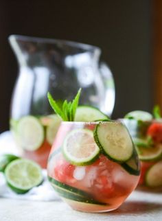 Cucumber Watermelon Sangria...sounds like my new summer obsession!