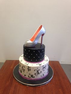 Black and White with Piping and Louboutin Pump Birthday Cake