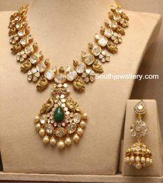Polki Diamond Peacock Haram and Long Jhumkas - Indian Jewellery Designs Indian Jewellery Design, Latest Jewellery, Jewelry Design, Handmade Jewellery, Indian Wedding Jewelry, Indian Jewelry, Bridal Jewelry, Jewelry Model, Pendant Jewelry