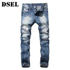 2017 Men Denim Blue Ripped Jeans Trousers 29-40 High Quality Cotton Mens Brand Dsel Jeans
