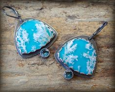 Plume agate & turquoise earrings in sterling silver with london blue topaz
