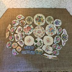 Vintage Broken China Focal Mosaic Tiles Lot of 39 by thecottageroom on Etsy