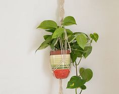 Macrame plant hangers are so all around and very decorative. The yarn creates lovely, geometric and modern shaped home decor.  Length dimensions 100cn 39  ^^^^^^^^^^^^^^^^  CUSTOM ORDERS: Want a smaller or larger size? Or a different style that represents you or a loved one? Just send me a convo.  ^^^^^^^^^^^^^^^^^  Please contact me for any questions or suggestions.