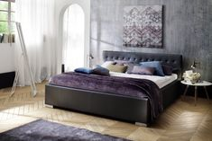 Pat tapitat cu piele ecologica Sandra Comfort Black #homedecor #inspiration #interiordesign #homedesign #decoration Bed, Interior, Leather, Furniture, Black, Design, Home Decor, Material, Products
