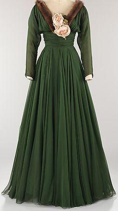 Norman Norell - Robe de Soirée - Soie, Fourrure et Fleurs - 1957