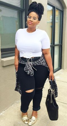Stylish Plus-Size Fashion Ideas – Designer Fashion Tips Curvy Outfits, Plus Size Outfits, Girl Outfits, Curvy Girl Fashion, Look Fashion, Plus Size Girls, Plus Size Women, Plus Size Fashion For Women, Plus Fashion