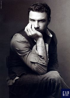 A pensive Liev Schreiber. | 25 Celebs You Probably Forgot Modeled For The Gap In The Early 2000s