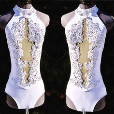White lace and Crystal and Pearl accents for this lyrical costume for Custom Dance Costumes, Dance Costumes Lyrical, Ballet Costumes, Belly Dance Costumes, Dance Leotards, Lyrical Dance, Latin Dance Dresses, Ballroom Dance Dresses, Tanz Shirts