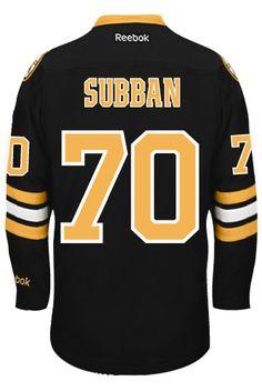 Boston Bruins Goalie Malcolm SUBBAN #70 Official Third Reebok Premier Replica NHL Hockey Jersey (HAND SEWN CUSTOMIZATION)