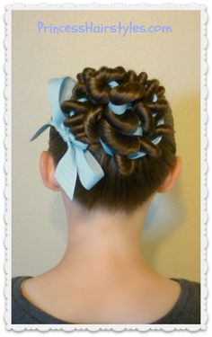 Cute ribbon coiled bun tutorial.  Great hairstyle for dance.