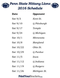 Printable Penn State Nittany Lions Football Schedule 2016