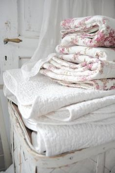 French country linens. Cozy!