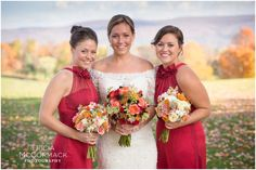 Bride with Sisters - Berkshire County Fall Wedding - Tricia McCormack Photography