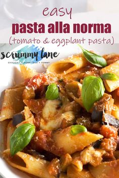 A really easy and delicious vegetarian Italian tomato and eggplant pasta - otherwise known as pasta alla norma. It's perfect for those nights when you want a delicious dinner, but without any fuss! Easy Pasta Recipes, Vegetarian Recipes Easy, Healthy Recipes, Healthy Food, Eggplant Pasta, Eggplant Recipes, Easy Weeknight Dinners, Easy Meals, Vegetarian Italian