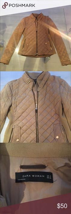 Zara quilted jacket Zara quilted jacket, perfect condition! It is a tan color and is the perfect light jacket for fall or spring! Zara Jackets & Coats