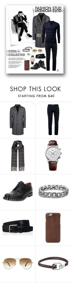 """""""Cool & Collected Fashion Stud"""" by quicherz on Polyvore featuring 8, Topman, Polo Ralph Lauren, BOSS Hugo Boss, Valentino, David Yurman, Tod's, FOSSIL, Ray-Ban and Salvatore Ferragamo"""