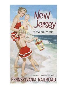 New Jersey shore vintage poster Images Vintage, Photo Vintage, Vintage Travel Posters, Retro Posters, Art Posters, Vintage Advertisements, Vintage Ads, Vintage Safari, Vintage Swim