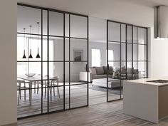 Piazza crittall style glass partitions Sliding Door Room Dividers, Glass Partition Wall, Glass Room Divider, Room Divider Doors, Living Room Sliding Doors, Kitchen Sliding Doors, Sliding Wall, Sliding Glass Door, Home Living Room