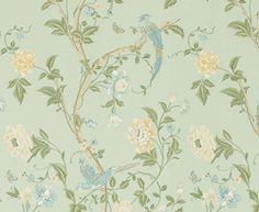 Laura Ashley Eau De Nil Summer Palace Wallpaper Above And