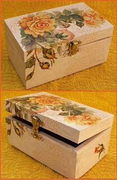 How to make a decoupage box – Easy Tutorial – DIY Decoupage Vintage, Diy Crafts Vintage, Napkin Decoupage, Decoupage Art, Diy And Crafts, Decoupage Drawers, Cigar Box Crafts, Wooden Painting, Painted Wooden Boxes