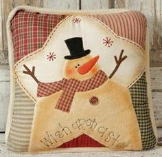 Primitive Christmas Snowman Pillow Wish Upon A Star or could be keeper of the wishing star Christmas Sewing, Primitive Christmas, Christmas Snowman, Christmas Projects, Holiday Crafts, Xmas, Christmas Cushions, Christmas Pillow, Cute Snowman