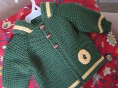 Verde amarillo Crochet niño suéter con capucha por ForBabyCreations