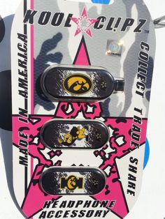 Officially Licensed Univ. of Iowa Kool Clipz a Clip for Headphones and Earbuds #KOOLClPZ