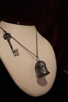 The RAVEN Necklace - Birdcage - Skeleton Key Gothic Necklace - Edgar Allan Poe Necklace - Wooden COFFIN gift box - silver