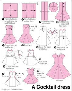 Origami instructions, how to make a paper cocktail dress. Origami instructions, how to make a paper cocktail dress. Origami Design, Origami Tutorial, Instruções Origami, Origami Dress, Money Origami, Origami Ball, Origami Folding, Origami Stars, Paper Folding